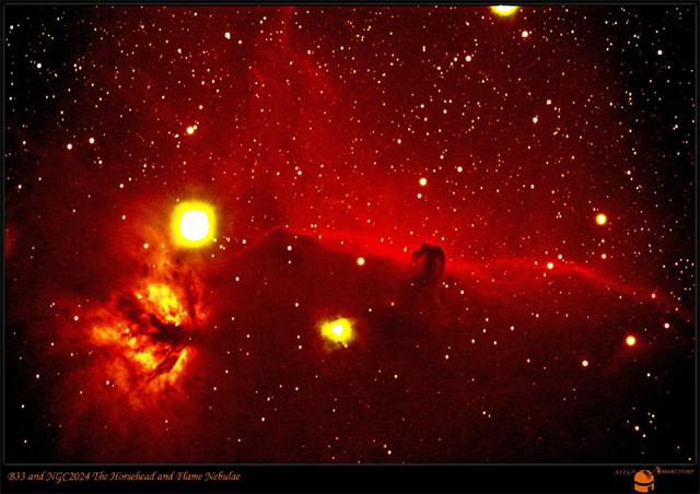 馬頭星雲(右側の馬のシルエット)