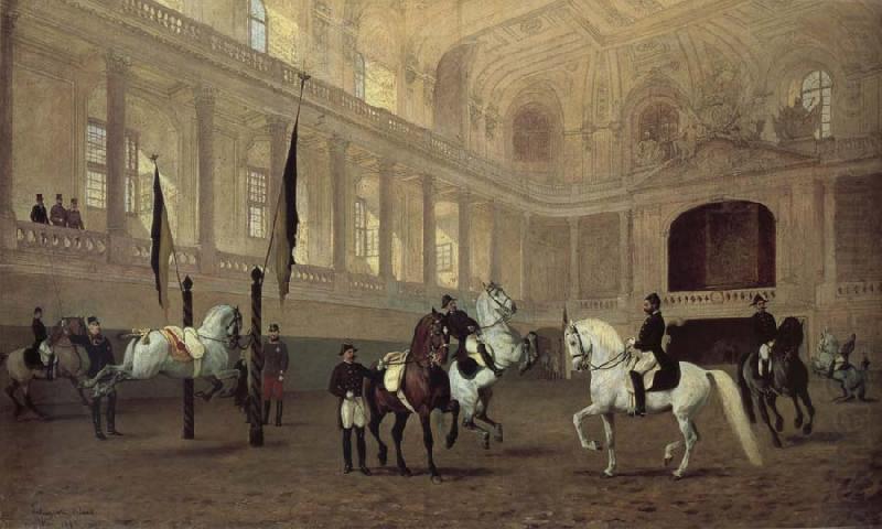 油絵「スペイン乗馬学校の朝練」