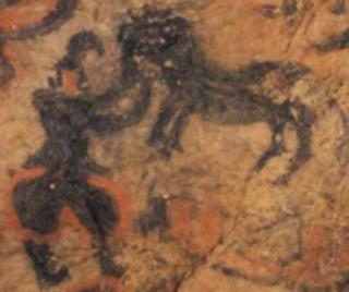 竹原古墳壁画の馬と馬丁